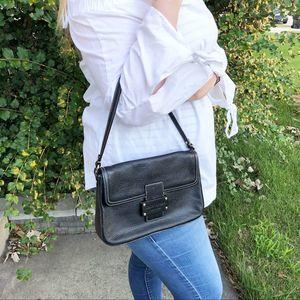 Kate Spade Leather Flap Shoulder Bag Black